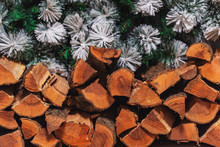 Wooden Logs In The Fireplace. Wooden Logs On The Background Of Christmas Tree Branches. Christmas Decorations In The Photo Studio. New Year's Interior In The House. Dry Split Firewood For Ignition