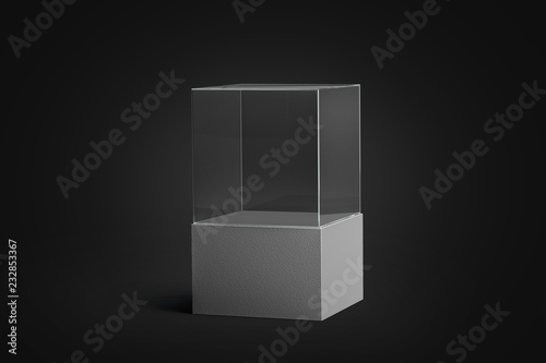 Blank white glass showcase mockup, isolated in darkness Wallpaper Mural