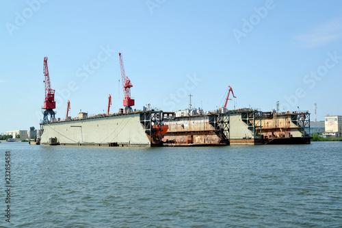 Poster Poort Ship dock in port of the city Svetlyj. Kaliningrad region