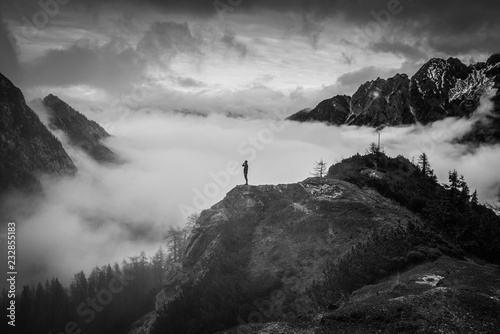 Colorful autumn in Alps. Hiking, adventure, sport, concept photo