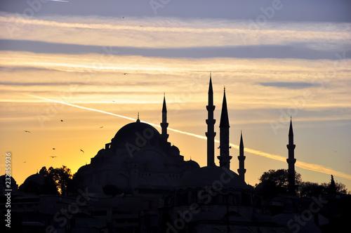 Printed kitchen splashbacks Turkey Suleymaniye Mosque at sunset Istanbul, Turkey