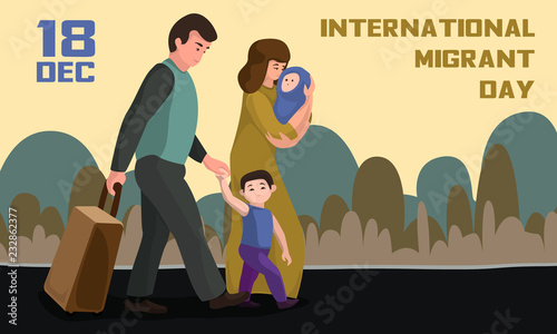 Canvas-taulu International migrant day concept banner