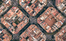 Typical Quarters In Center Of Barcelona. Aerial View