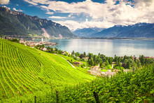 Montreux City With Swiss Alps,...