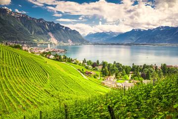Montreux city with Swiss Alps, lake Geneva and vineyard on Lavaux region, Canton Vaud, Switzerland, Europe.