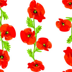 Panel Szklany Maki Seamless pattern with red poppy flowers vector eps 10