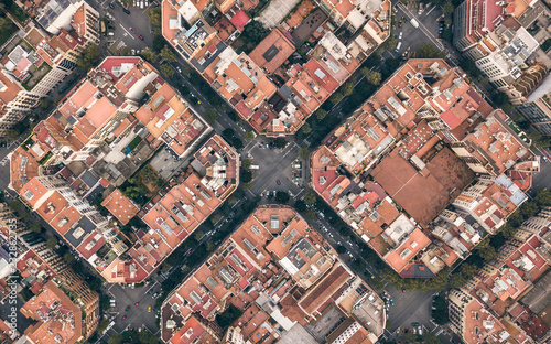 Foto auf Acrylglas Barcelona Typical quarters in center of Barcelona. Aerial view