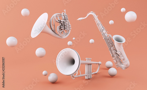 Fotomural 3d White musical instruments