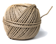 Cord Skein, Hemp Roll, Linen Cord Natural Ball, Isolated On White