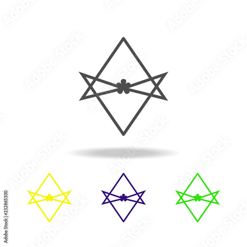 Photo  Thelema Unicursal hexagram sign multicolored icon