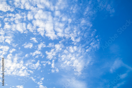 Altocumulus, white clouds in blue sky Canvas Print