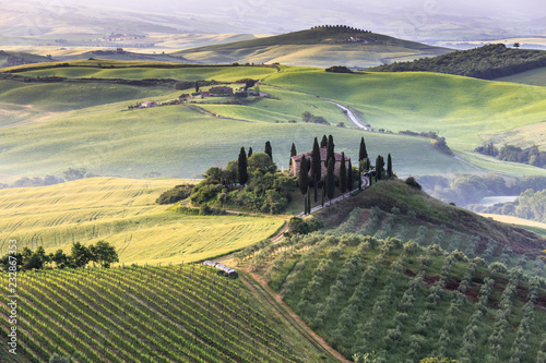 In de dag Olijf Tuscany Toscana landscape with traditional farm house, hills and meadow. Val d'orcia, Italy.