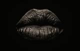 Seductive female full lips on black background. Fashionable and luxury lip professional make up. Dark side of human behavior. Young girl's lips. - 232871586