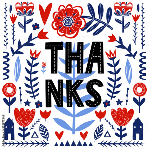 Thanks - unique hand drawn poster with handdrawn lettering in scandinavian style Fototapeta