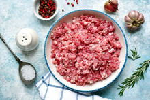 Minced Meat In A Bowl With Spi...