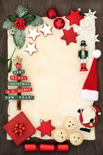 Christmas Blank Letter, Decorations, Mince Pies, Gingerbread Cookies, Winter Holly And Fir On Parchment Paper On Oak Wood Background. Letter To Santa Or Invitation Concept.