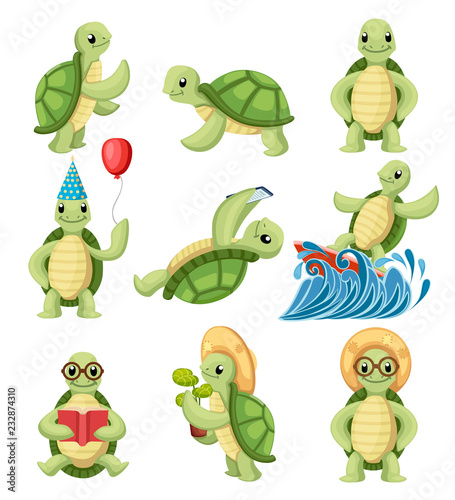 Obraz na plátně Collection of turtles cartoons characters
