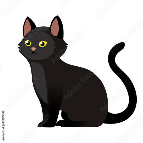 Photo Sitting black cat with yellow eyes