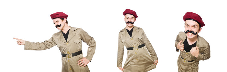 Fototapeta Funny soldier in military concept