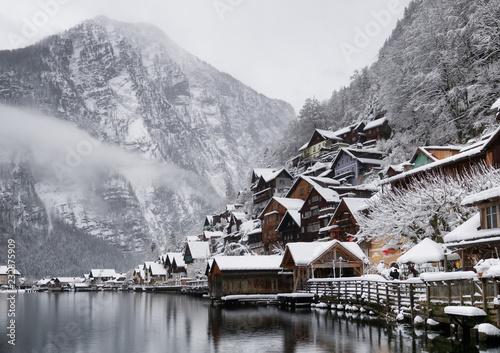 Fototapeta Hallstat village in the Austria. Beautiful village in the mountain valley near lake. Natural winter landsape in Austria obraz na płótnie