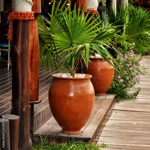 Patio Interior Outdoor Patio Brown Pots With Decorative Plants