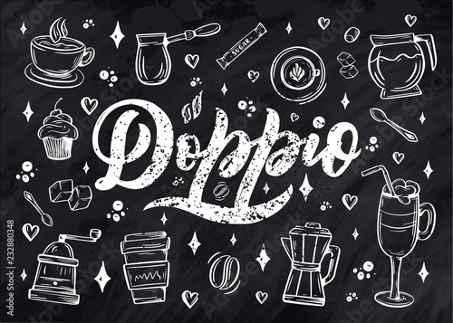 Hand lettering name of coffee with sketch for coffee shop or cafe Wallpaper Mural
