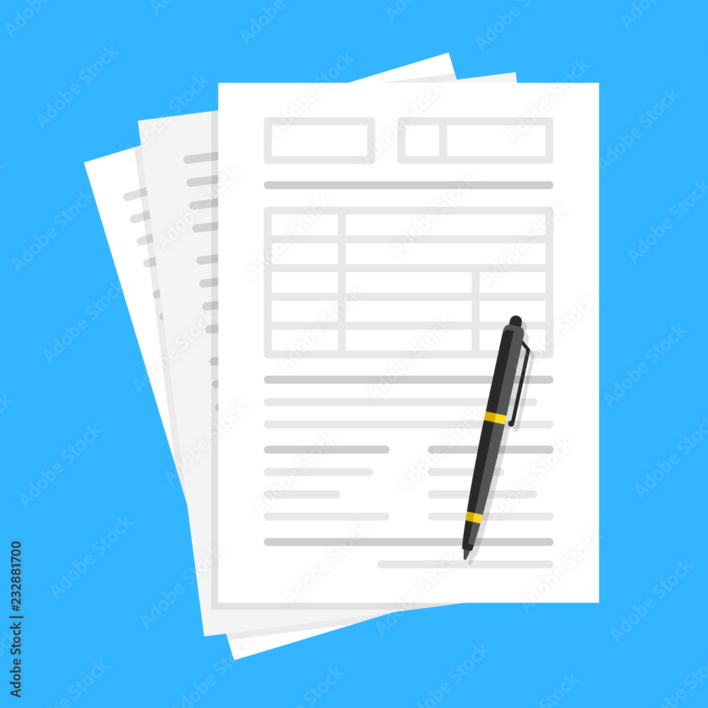 Fototapeta Documents and pen. Filling forms, lot of paper, application form, office work, accounting, paperwork concepts. Flat design. Vector illustration