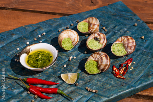Bourgogne Escargot Snails with garlic herbs butter on the blue surface. Healthy food concept with copy space.