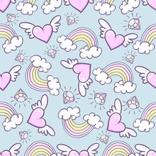 Seamless Pattern With Donuts, Rainbow, Heart With Wings, Precious Diamond, Can Be Used For Background Images, Web Pages, Surface Textures