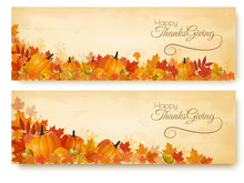 Two Thanksgiving Holiday Banners With Colorful Leaves And Autumn Vegetables Vector.