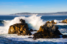 Surf Breaks On Rocks At Point ...