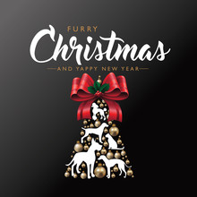 Pet Furry Christmas Poster Or Greeting Card With Realistic Golden Christmas Baubles Or Ornaments, Dog And Cat Silhouettes. Eps10 Vector Illustration.