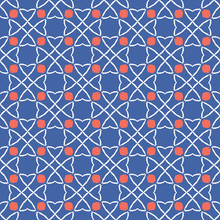 1950s Style Retro Celtic Knot Circle Style Seamless Vector Pattern. Hand Drawn Summer Textile Print For Trendy Boho Folklore Fashion, Packaging, Girl Clothing, Stationery. Vintage Geometric Blue Red