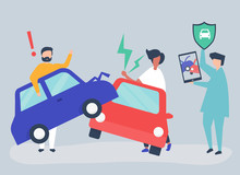 An Insurance Agent Resolving A Car Accident