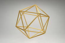 Abstract Photorealistic 3d Rendering Of A Icosahedron. Modern Background With Geometric Shape Of The Platonic Solids. Minimalist Design For Poster, Cover, Branding, Banner, Placard.