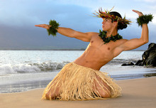 Male Hula Dancer Performs On T...