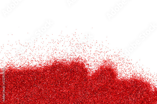 Red glitter texture on white background. Copy space - 232903976