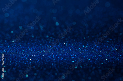 Fényképezés  Abstract dark vivid navy blue sparkling glitter wall and floor perspective background studio with blur bokeh