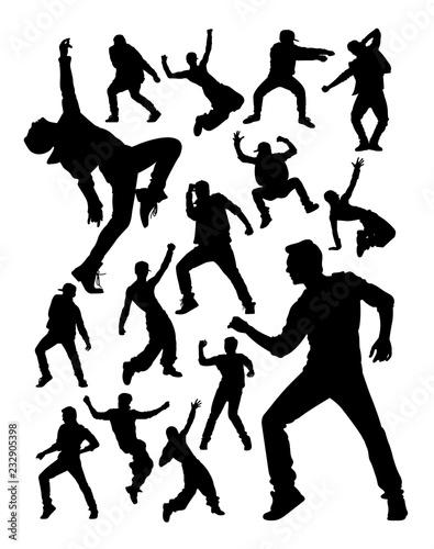 Fotografie, Tablou Energetic modern dancer activity silhouettes