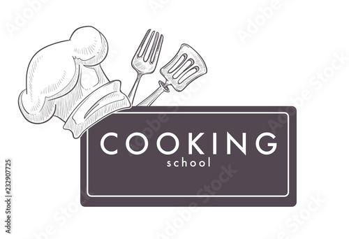 Fototapeta Cooking school monochrome sketch outline chefs hat cap obraz
