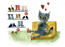 Gray Cat And Boots
