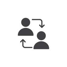 User Switch Vector Icon. Filled Flat Sign For Mobile Concept And Web Design. People With Exchange Arrows Simple Solid Icon. Symbol, Logo Illustration. Pixel Perfect Vector Graphics