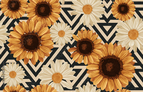 Printable seamless vintage autumn repeat pattern background with daisies and sunflowers. Botanical wallpaper, raster illustration in super High resolution. - 232911112