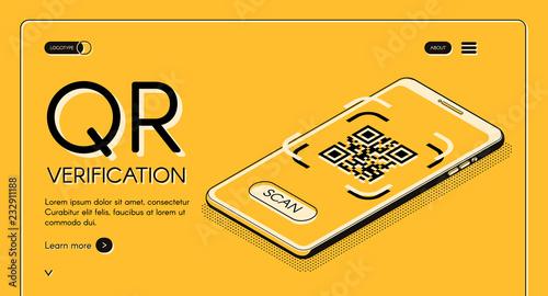Fotografie, Obraz  QR code verification service web banner isometric vector design template with machine-readable barcode on smartphone screen line art illustration