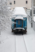 Winter Day On The Railway. Sno...