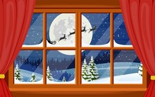 Santa Claus And His Reindeer In Window
