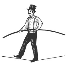 Man Circus Ropewalker Engravin...