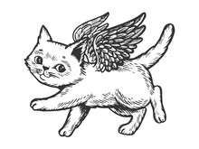 Angel Flying Kitten Engraving Vector Illustration. Scratch Board Style Imitation. Black And White Hand Drawn Image.