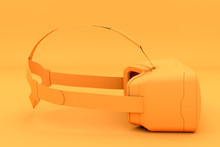 VR Goggles Headset In One Tone Color. Side View. Modern Tech Design In Minimal Style. Monochromatic Orange And Trendy Duotone Effect. 3D Render Illustration.