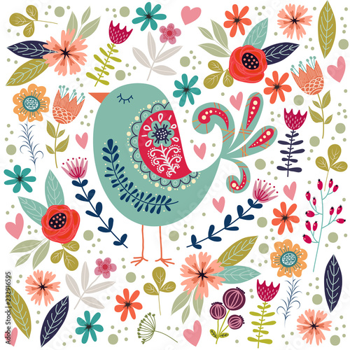 Art vector colorful illustration with beautiful abstract folk bird and flowers Fototapet